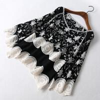 女装秋装新款 百搭宽松V领七分袖钩花蕾丝衫罩衫上衣女
