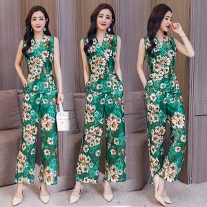 蕾丝阔腿裤套装女时尚两件套夏装2018新款潮名媛显瘦港风洋气套装