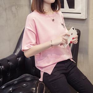 春款小衫女2018新款韩版时尚气质显瘦长袖t恤女百搭修身上衣女潮