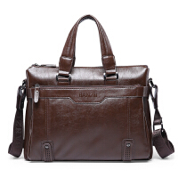 商务休闲男包男士手提包横款电脑包单肩斜挎公文包s6 竖款手提浅棕