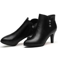 2018冬秋季新款女士皮鞋尖头短靴防水台细跟高跟鞋马丁靴中跟单靴真皮 水钻红色 710-5内里加绒