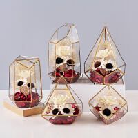 北欧装饰摆件现代简约几何玻璃罩花房创意家居饰品客厅软装工艺品