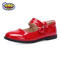 巴布豆童鞋女童皮鞋2017秋季新款公主鞋学生圆头鞋花朵黑皮鞋单鞋