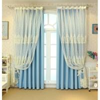韩式双层全遮光窗帘成品欧式蕾丝绣花窗纱客厅卧室飘窗落地窗成品订做