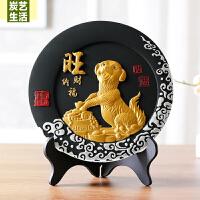 客厅装饰品生肖狗摆设新年礼品狗年吉祥物摆件年会礼品炭雕工艺品