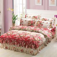 纯棉床裙式床罩四件套韩版网红全棉双人被套1.5m1.8m2.0米床单 1.5x2米 床裙4件套+枕芯一对