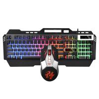 键盘鼠标套装 贵彩 q300金属键盘7D鼠标套装 背光机械手感有线键鼠套装台式吃鸡游戏 q310 加厚底板黑色键盘+鼠