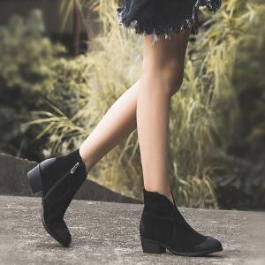 【下单只需要198元】玛菲玛图女靴2017秋冬新款短靴欧美磨砂牛皮裸靴侧拉链粗跟单靴子008-1N