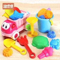 儿童沙滩玩具车套装大号宝宝玩沙子挖沙漏铲子工具决明子婴儿玩具 大号沙滩车20件套