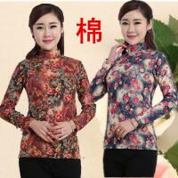 中老年女装长袖T恤纯棉春秋装妈妈装40-50半高领薄款打底衫针织衫