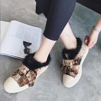 平底鞋女英伦棉鞋百搭加绒韩版秋冬季2017新款女鞋毛毛鞋板鞋子潮