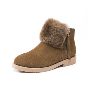 如熙2017秋季新款棉靴短靴女冬鞋子棉鞋平底鞋真皮靴子圆头鞋