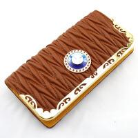 大钻韩版女士钱包 时尚女式包长款拉链包 手拿手提钱包手机包 卡其色
