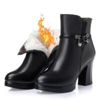 女士棉皮鞋高跟冬季新款女士棉皮鞋高跟短靴加绒防水台棉靴粗跟马丁靴子srr 黑色羊毛里