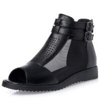 舒适平跟妈妈凉鞋真皮冬秋网纱透气中年女鞋大码中老年凉靴 黑色 标准码