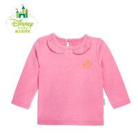 迪士尼Disney童装 婴儿冬季纯棉保暖女宝宝甜美荷叶领长袖T恤154S721