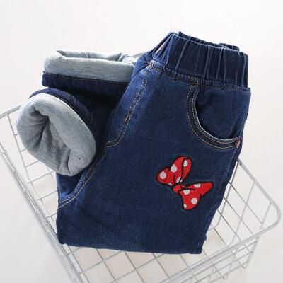 儿童牛仔裤加绒加厚女童棉裤冬三层加棉中大童宽松保暖