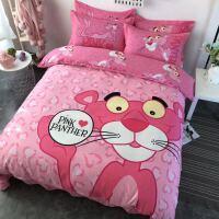 ins纯棉粉红豹床上四件套儿童卡通床单被套可爱床上用品三件套1.8