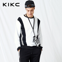 【商场同款】kikc卫衣男2018春季新款圆领个性拼接纯棉长袖上衣男