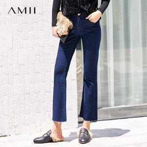 【到手价:109.9元】Amii极简chic复古ulzzang牛仔九分裤2019春季新微喇叭毛边休闲裤