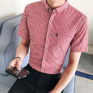 夏季男装青年韩版修身衬衣潮流寸衫男士休闲格子短袖衬衫33