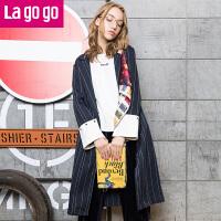 【3折价158.4】Lagogo2017年秋新款条纹休闲西装外套袖口撞色开叉风衣女宽松长款