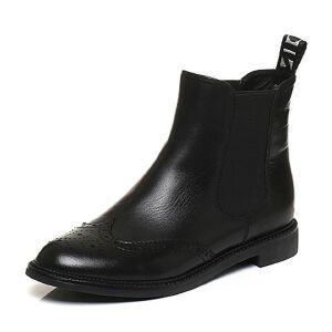 Belle/百丽2017冬英伦风牛皮/织物女短靴91182DD7