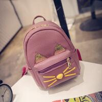 韩版潮女包时尚旅行包小猫双肩包双肩背包休闲中学生书包s6 紫罗兰
