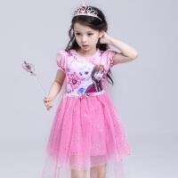 冰雪奇缘公主裙夏季短袖艾莎连衣裙 节日儿童演出礼服