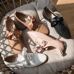 玛菲玛图新款布洛克鞋女系带方根圆头雕花休闲女鞋学院风牛津鞋女M1981201834T15