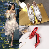 2017方扣水钻银色高跟鞋细跟单鞋女中跟尖头婚鞋红色新娘鞋伴娘鞋