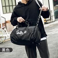 运动包旅行包短途手提包行李袋大容量轻便健身包训练潮女男士小包 运动健身包 黑色 中