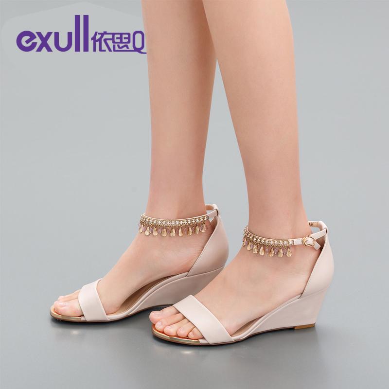 依思q夏季新款高跟坡跟露趾纯色饶踝包跟女凉鞋子潮