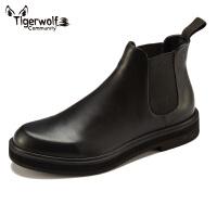 男鞋子秋冬季新款切尔西短靴潮鞋男士商务时尚皮鞋真皮休闲鞋英伦