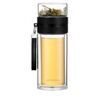 ONE2GO茶水分离杯大容量双层玻璃杯男女商务水杯泡茶杯子 黑色 340ml
