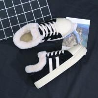 加绒帆布鞋女秋冬季百搭韩版原宿板鞋学生棉鞋潮