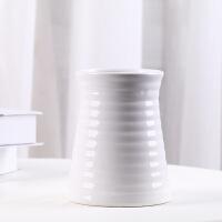 陶瓷花瓶摆件客厅插花小清新干花花束家居摆设现代简约装饰品花器 白色陶瓷 螺纹A瓶