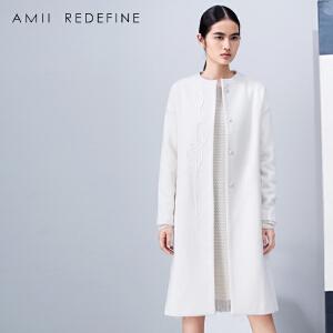 [AMII东方极简] JII AMII冬季绣花带腰带大码装长款羊毛呢外套女长过膝2017新款