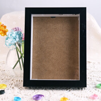 图个乐木质摆台相框画框胶相框支架画框奖状证书 8寸黑棕色木质相框