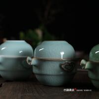 陶瓷旅行茶具青花瓷快客杯 手抓壶盖碗茶壶手把壶 青瓷一壶一杯