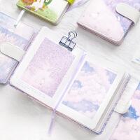 可爱紫色手帐本方格少女心彩页日记本子笔记本文艺精致手账本