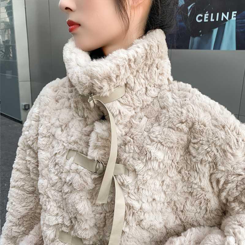 皮草2020年新款年轻款韩版皮毛一体短款獭兔毛羊羔绒毛毛外套女冬