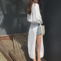 衬衫女可爱小清新中长款开叉防晒衣春装2018新款港味复古chic外套