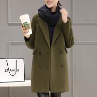 2018新款女装韩版修身毛呢外套中长款军绿色呢子大衣外套