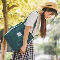 学院女包复古学生灯芯绒单肩手提包2018新款糖果色马卡龙多色包包