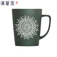 汉馨堂 马克杯 带盖带勺简约时尚创意水杯磨砂陶瓷杯子个性咖啡杯办公室大容量节日*杯