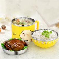 白领公社 餐具套装 日式卡通大号泡面带盖双耳陶瓷学生可爱汤面碗厨房用品