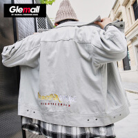 森马潮牌GLEMALL 男士工装外套多口袋青年春撞色刺绣宽松复古夹克