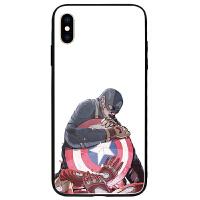 漫威手机壳苹果x美国队长iphone8plus复仇者绿巨人7p玻璃XR英雄6s