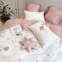 公主风星星刺绣纯棉60支长绒棉四件套少女心被套简约全棉床上用品被子四件套双人床情侣床上四件套可爱少女 2.0米(适合被